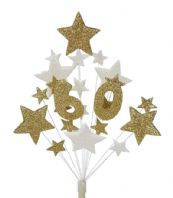 Number age 60th birthday cake topper decoration in gold and white - free postage
